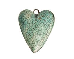 Earthenwood Studio Ceramic Aqua Crackle Heart 23x32mm