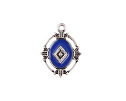 Zola Elements Cobalt Enamel Antique Silver (plated) Ornate Framed Oval Focal 15x20mm