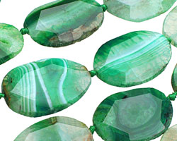 Green Agate Faceted Flat Slab 34-44x28-34mm