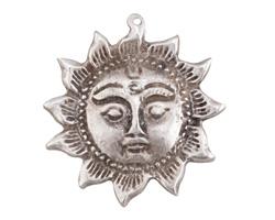 Greek Pewter Sun Face Focal 51x53mm