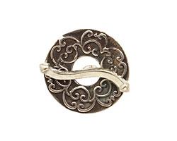 Saki White Bronze Simple Damask Toggle 23mm, 25mm bar