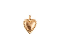 Matte Gold Finish Puff Heart Charm 10x13mm