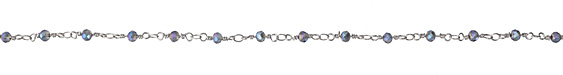 Blue Luster AB Crystal 4mm Silver (plated) Bead Chain