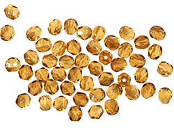 Czech Fire Polished Glass Twilight Topaz Round 4mm