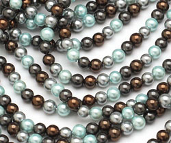 Mint Chocolate Shell Pearl Mix Round 4mm