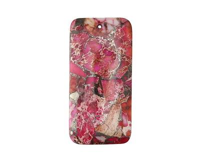 Ruby Impression Jasper & Pyrite Rectangle Pendant 30x60mm