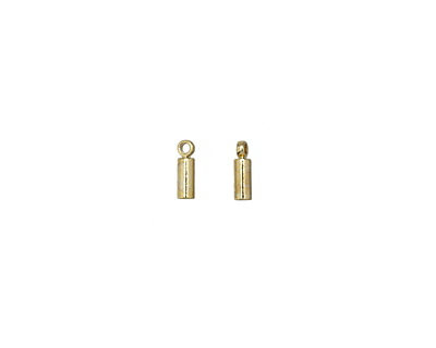 Gold (plated) Cylindrical End Cap w/ Loop 2mm