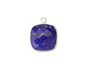 Lapis Faceted Square Drop in Sterling Silver 15x18mm