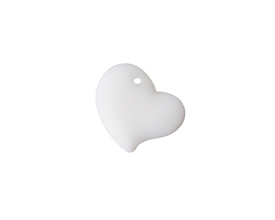 Opaque White Recycled Glass Puffed Sweeping Heart Pendant 19x18mm