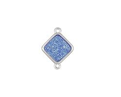 Metallic Aqua Crystal Druzy Diamond Link in Silver Finish Bezel 16x12mm