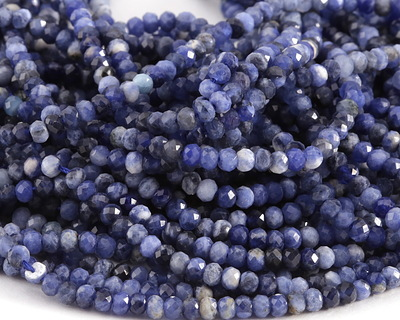 Sodalite Faceted Rondelle 2.5x3mm