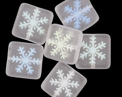 Czech Glass Laser Etched Snowflake on Matte Crystal w/ AB Finish Puff Square 15mm