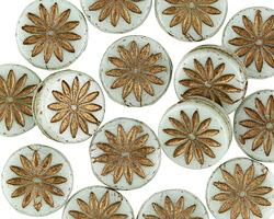 Czech Glass Sweet Mint w/ Bronzed Daisy Coin 12mm