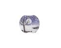 Grace Lampwork Snowy Night Lentil 14x16mm