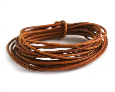 Natural Brown Round Leather Cord 1.5mm
