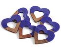 Walnut Wood & Royal Blue Resin Open Heart Focal 50mm