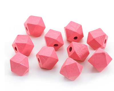 Pink Grapefruit Wood Faceted Nugget 14mm