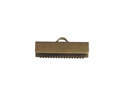 Antique Brass (plated) Ribbon Crimp End 20mm