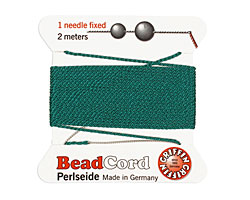 Green Griffin Silk Beading Cord Size 8, 2 meters