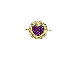 Fuchsia Pave CZ 18K Gold (plated) Ruffled Heart Focal Link 19x15mm