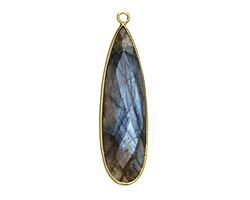 Labradorite Faceted Teardrop in Gold Vermeil 14x45mm