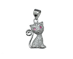Sterling Silver & CZ Micro Pave Cat Pendant 12x17mm