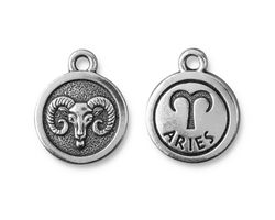 TierraCast Antique Silver (plated) Round Aries Charm 15x18mm