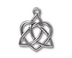 TierraCast Antique Silver (plated) Large Open Celtic Heart Charm 21x26mm