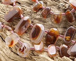 Fire Agate Graduated Freeform Drops 5x9-13x18mm