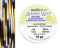 Artistic Wire MultiColor Silver/Gold/Black 18 Gauge, 2 Yards