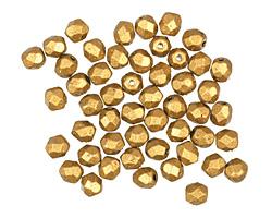 Czech Fire Polished Glass Matte Metallic Goldenrod Round 4mm