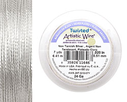 Twisted Artistic Wire Tarnish Resistant Silver 24 gauge, 7 yards