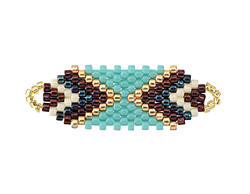 Chocolate Mint Hand Woven Focal Piece 36x12mm