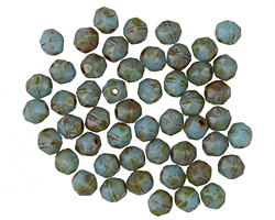 Czech Glass Turquoise Picasso English Cut Bead 4mm