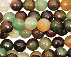 Green/Caramel (dark) Agate Faceted Round 8mm