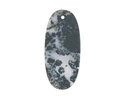 Moss Agate (matte) Thin Sliced Oval Pendant 25x55mm
