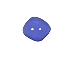 Royal Blue Recycled Glass Flat Freeform Two Hole Button 15-17mmX18-22mm