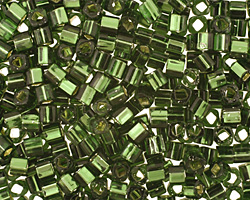 TOHO Olivine (with Silver Lining) Cube 3mm Seed Bead