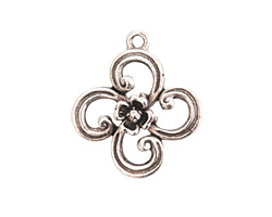 Nunn Design Antique Silver (plated) Fanciful Flower Petal Charm 22x25mm