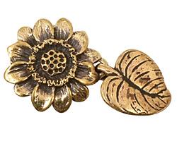 Green Girl Bronze Sunflower Clasp 26x44mm