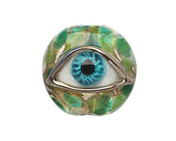 Grace Lampwork Green Eyed Lentil Focal Bead 27-28mm