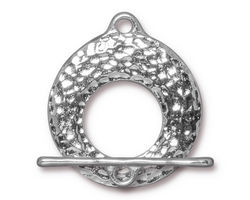 TierraCast Rhodium (plated) Artisan Toggle Clasp 30x27mm, 30mm Bar