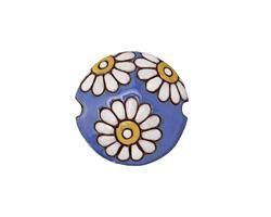 Golem Studio White Daisies on Blue Carved Ceramic Lentil 23mm