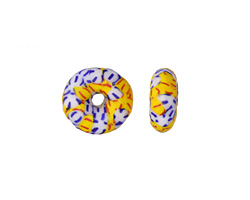 African Recycled Seed Bead Yellow, Blue & White Donut 4-6x17-20mm