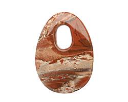Red Bend Jasper Drilled Oval Pendant 50-52x70-72mm