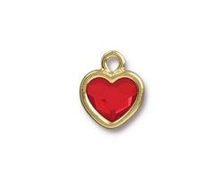 TierraCast Gold (plated) Heart Drop w/ Light Siam Crystal 13x16mm
