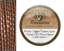 Vintaj Artisan Copper Twisted Square Parawire 18 gauge, 8 feet