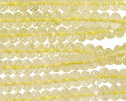 Lemon Quartz Faceted Rondelle 6mm