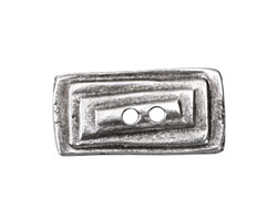 Greek Pewter Lined Rectangle Button 29x25mm