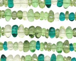 Czech Glass Green Mix Chips